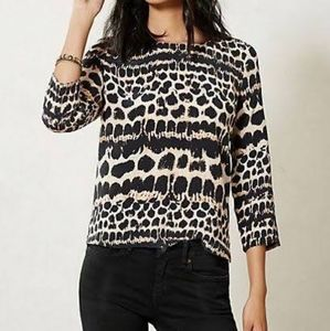 Anthropologie Maeve leopard print silk tops Excell
